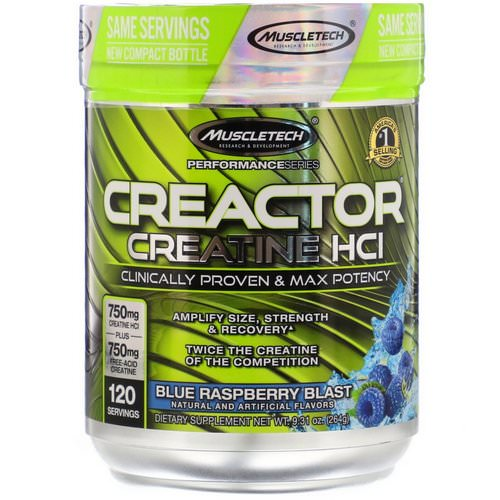 Muscletech, Creactor, Creatine HCI, Blue Raspberry Blast, 9.31 oz (264 g) Review
