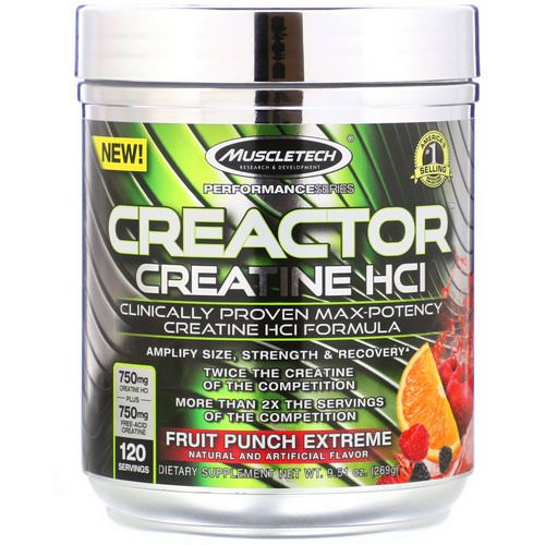 Muscletech, Creactor, Creatine HCl Formula, Fruit Punch Extreme, 9.51 oz (269 g) Review