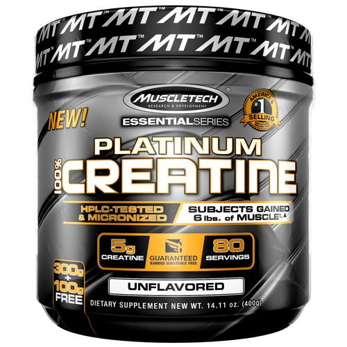 Muscletech, Essential Series, Platinum 100% Creatine, Unflavored, 14.11 oz (400 g) Review