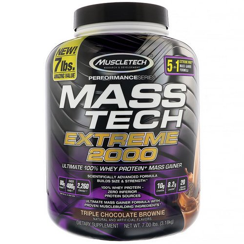 Muscletech, Mass Tech Extreme 2000, Triple Chocolate Brownie, 7.00 lb (3.18 kg) Review