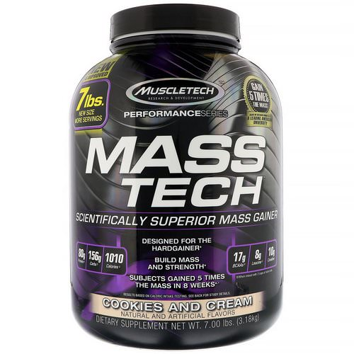 Muscletech, Mass-Tech, Scientifically Superior Mass Gainer, Cookies and Cream, 7.00 lb (3.18 kg) Review