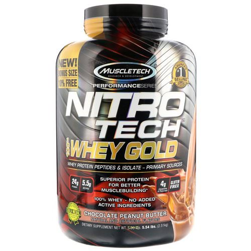 Muscletech, Nitro Tech 100% Whey Gold, Chocolate Peanut Butter, 5.54 lbs (2.51 kg) Review