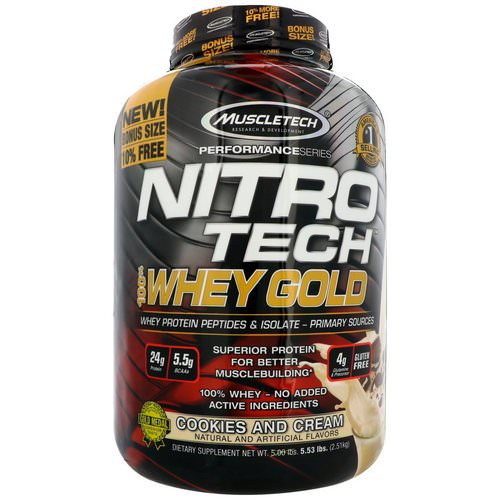 Muscletech, Nitro Tech, 100% Whey Gold, Cookies and Cream, 5.53 lbs (2.51 kg) Review