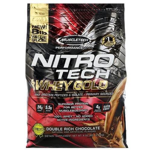 Muscletech, Nitro Tech, 100% Whey Gold, Whey Protein Powder, Double Rich Chocolate, 8 lbs (3.63 kg) Review