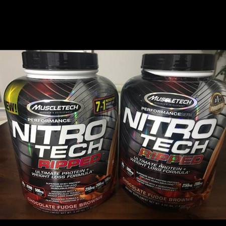 Nitro Tech Ripped, Ultimate Protein + Weight Loss Formula, Chocolate Fudge Brownie