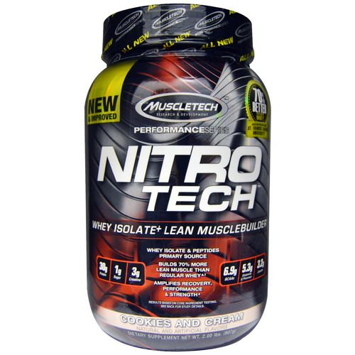 Muscletech, Nitro Tech, Whey Isolate + Lean Muscle Builder, Cookies and Cream, 2.00 lbs (907 g) Review