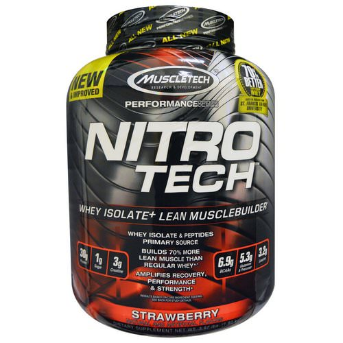 Muscletech, Nitro Tech, Whey Isolate + Lean Muscle, Strawberry, 3.97 lbs (1.80 kg) Review