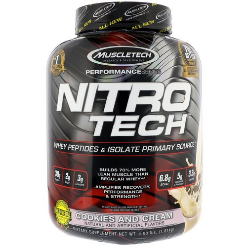 Muscletech, Nitro Tech, Whey Isolate + Lean Musclebuilder, Cookies and Cream, 3.97 lbs (1.80 kg) Review