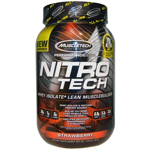 Muscletech, Nitro-Tech, Whey Isolate + Lean Musclebuilder, Strawberry, 2 lbs (907 g) Review
