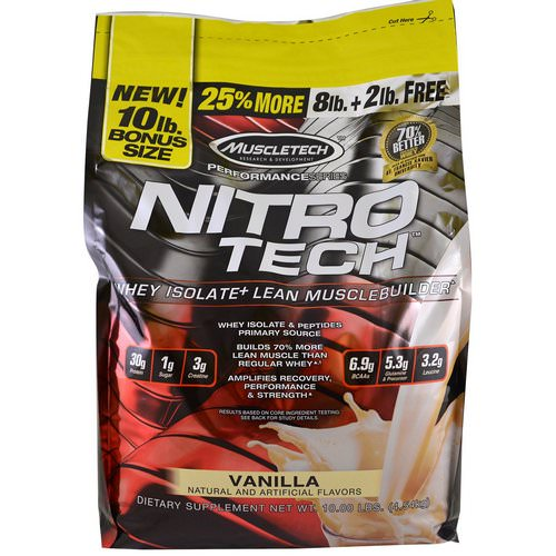Muscletech, Nitro Tech, Whey Isolate + Lean Musclebuilder, Vanilla, 10 lbs (4.54 kg) Review