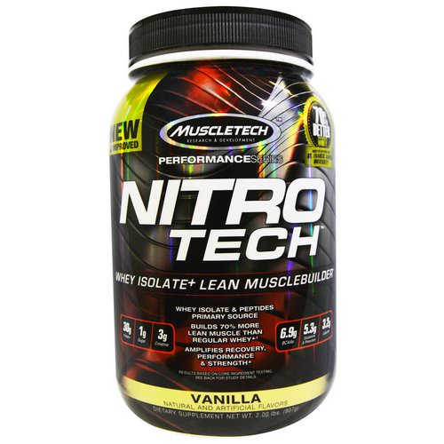 Muscletech, Nitro Tech, Whey Isolate + Lean MuscleBuilder, Vanilla, 2.00 lbs (907 g) Review