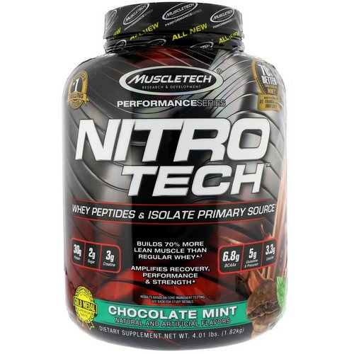 Muscletech, Nitro Tech Whey Peptides & Isolate Primary Source, Chocolate Mint, 4 lb (1.82 kg) Review