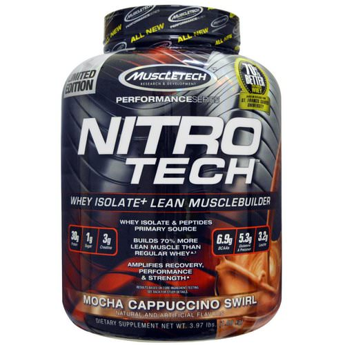 Muscletech, NitroTech, Whey Isolate+ Lean Musclebuilder, Mocha Cappuccino Swirl, 3.97 lbs (1.80 kg) Review