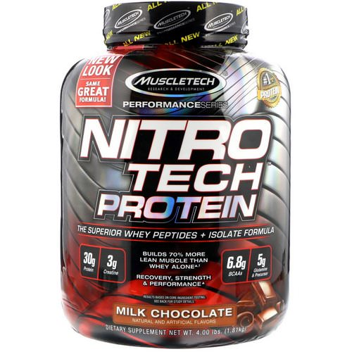 Muscletech, NitroTech, Whey Peptides & Isolate Primary Source, Milk Chocolate, 4.00 lbs (1.81 kg) Review