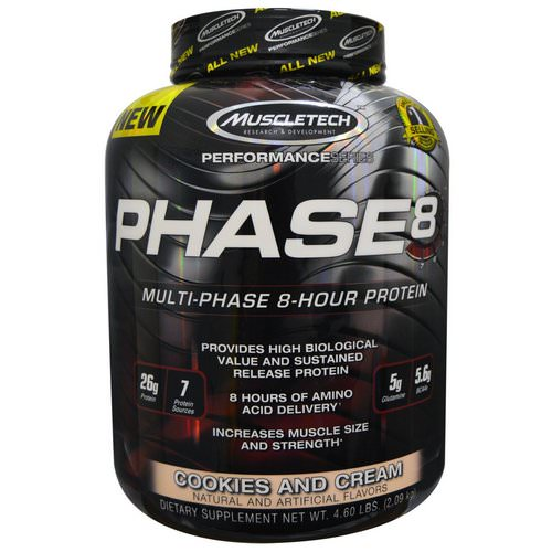 Muscletech, Performance Series, Phase8, Multi-Phase 8-Hour Protein, Cookies and Cream, 4.60 lbs (2.09 kg) Review