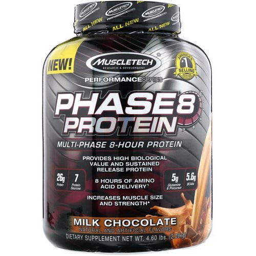Muscletech, Performance Series, Phase8, Multi-Phase 8-Hour Protein, Milk Chocolate, 4 lbs (2.09 kg) Review