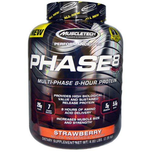 Muscletech, Performance Series, Phase8, Multi-Phase 8-Hour Protein, Strawberry, 4.60 lbs (2.09 kg) Review