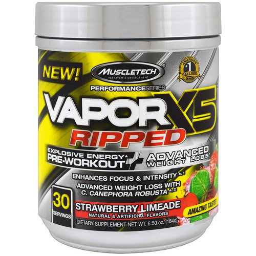 Muscletech, Performance Series, VaporX5 Ripped, Strawberry Limeade, 6.50 oz (184 g) Review
