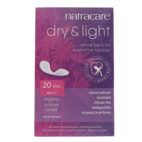 Natracare, Dry & Light, Organic Cotton Cover, Slim, 20 Pads Review