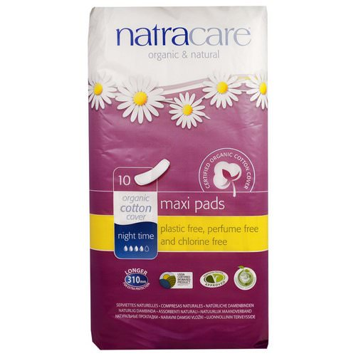 Natracare, Maxi Pads, Night Time, 10 Pads Review