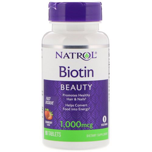 Natrol, Biotin, Fast Dissolve, Strawberry Flavor, 1,000 mcg, 90 Tablets Review