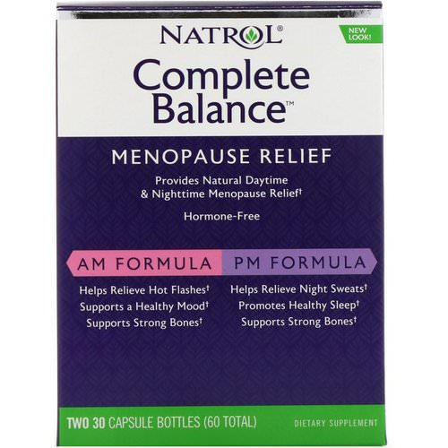 Natrol, Complete Balance, Menopause Relief, AM/PM, Two Bottles 30 Capsules Each Review