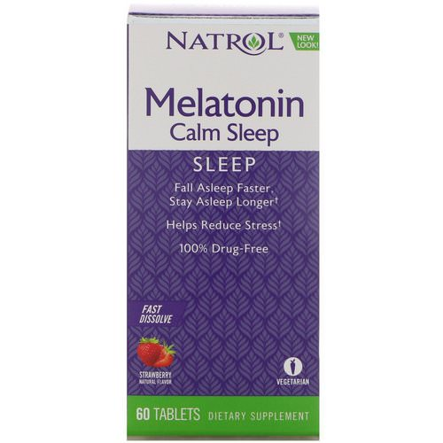 Natrol, Melatonin Calm Sleep, Fast Dissolve, Strawberry Flavor, 60 Tablets Review