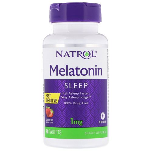 Natrol, Melatonin, Fast Dissolve, Strawberry, 1 mg, 90 Tablets Review