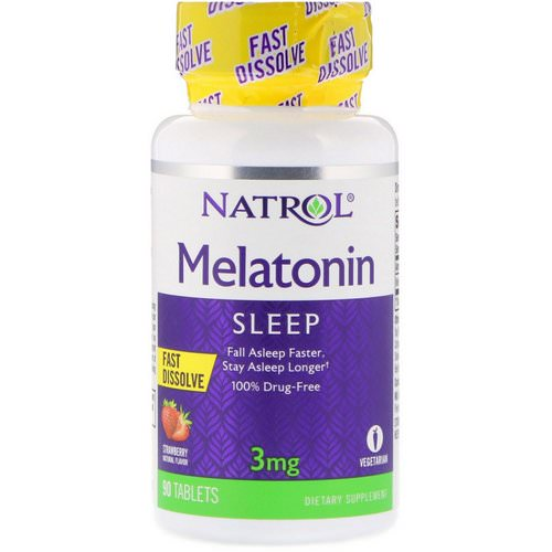 Natrol, Melatonin, Fast Dissolve, Strawberry Flavor, 3 mg, 90 Tablets Review