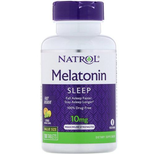 Natrol, Melatonin, Maximum Strength, Citrus Flavor, 10 mg, 100 Tablets Review