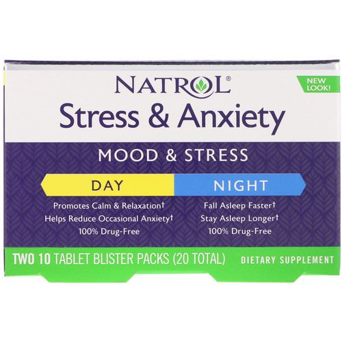 Natrol, Stress & Anxiety, Day & Night, Two 10 Tablet Blister Packs (20 Total) Review