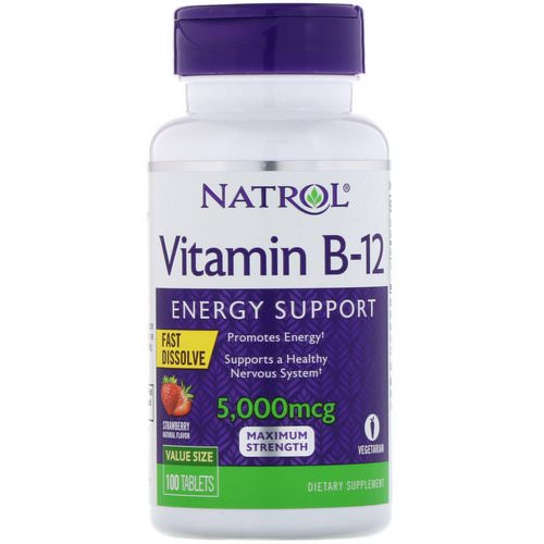 Natrol, Vitamin B-12, Fast Dissolve, Maximum Strength, Strawberry, 5,000 mcg, 100 Tablets Review