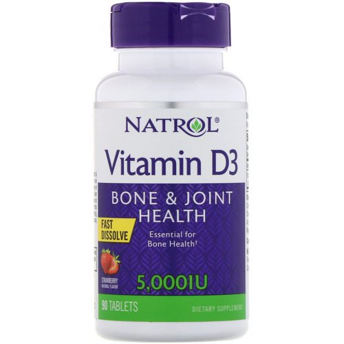 Natrol, Vitamin D3, Fast Dissolve, Strawberry Flavor, 5,000 IU, 90 Tablets Review