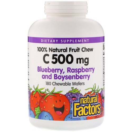 Natural Factors, 100% Natural Fruit Chew C, Blueberry, Raspberry and Boysenberry, 500 mg, 180 Chewable Wafers Review