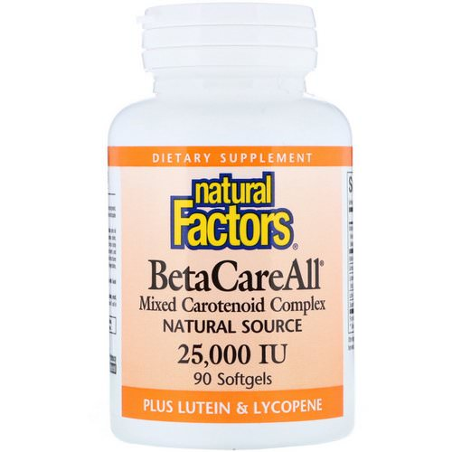 Natural Factors, BetaCareAll plus Lutein & Lycopene, 25,000 IU, 90 Softgels Review