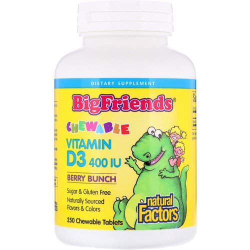Natural Factors, Big Friends, Chewable Vitamin D3, Berry Bunch, 400 IU, 250 Chewable Tablets Review