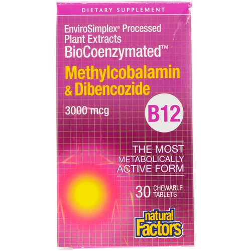 Natural Factors, BioCoenzymated, Methylcobalamin & Dibencozide, 3,000 mcg, 30 Chewable Tablets Review