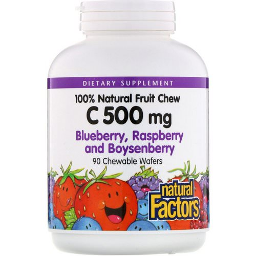 Natural Factors, 100% Natural Fruit Chew C, Blueberry, Raspberry and Boysenberry, 500 mg, 90 Chewable Wafers Review