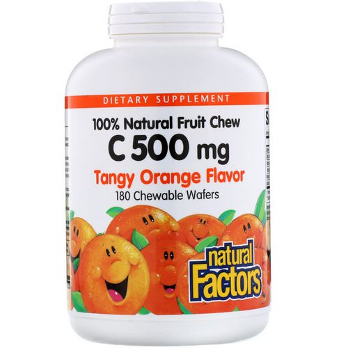 Natural Factors, 100% Natural Fruit Chew C, Tangy Orange Flavor, 500 mg, 180 Chewable Wafers Review