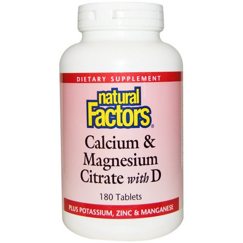 Natural Factors, Calcium & Magnesium Citrate, With D, 180 Tablets Review