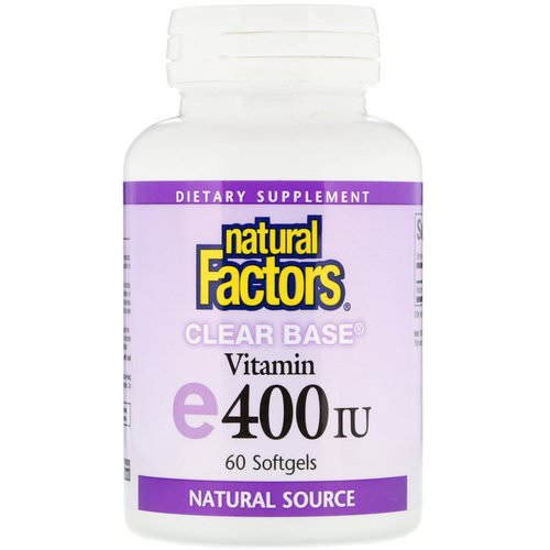 Natural Factors, Vitamin E, Clear Base, 400 IU, 60 Softgels Review