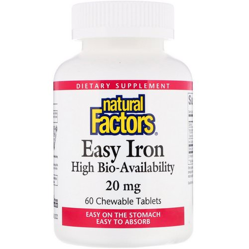 Natural Factors, Easy Iron, Fruit Flavor, 20 mg, 60 Chewable Tablets Review