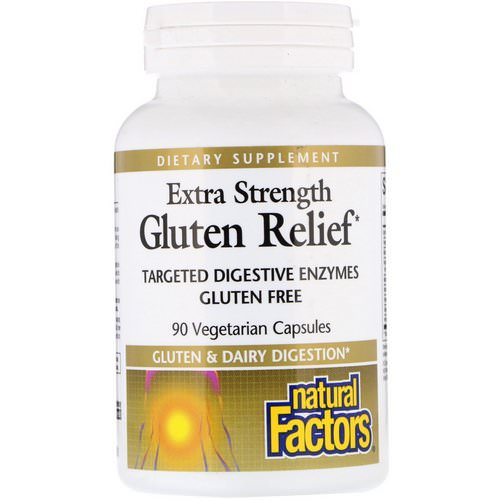 Natural Factors, Extra Strength Gluten Relief, 90 Vegetarian Capsules Review