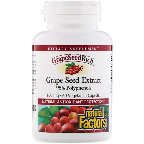 Natural Factors, Grape Seed Extract, 95% Polyphenols, 100 mg, 60 Vetegarian Capsules Review