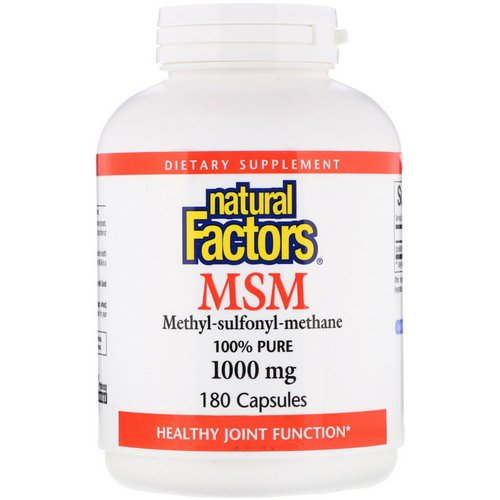 Natural Factors, MSM, Methyl-Sulfonyl-Methane, 1,000 mg, 180 Capsules Review