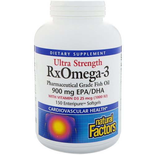 Natural Factors, Ultra Strength, RxOmega-3, with Vitamin D3, 900 mg EPA/DHA, 150 Enteripure Softgels Review