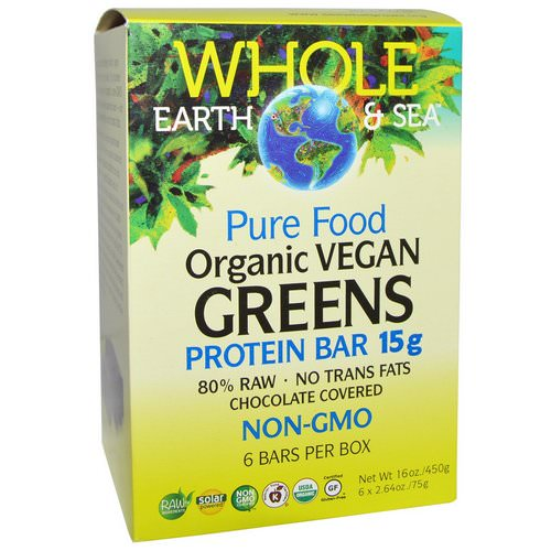Natural Factors, Whole Earth & Sea, Pure Food Organic Vegan Greens Protein Bars, Chocolate Covered, 6 Bars, 2.64 oz (75 g) Each Review