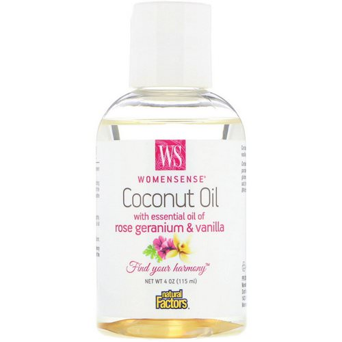 Natural Factors, WomenSense, Coconut Oil with Essential Oil of Rose Geranium & Vanilla, 4 oz (115 ml) Review
