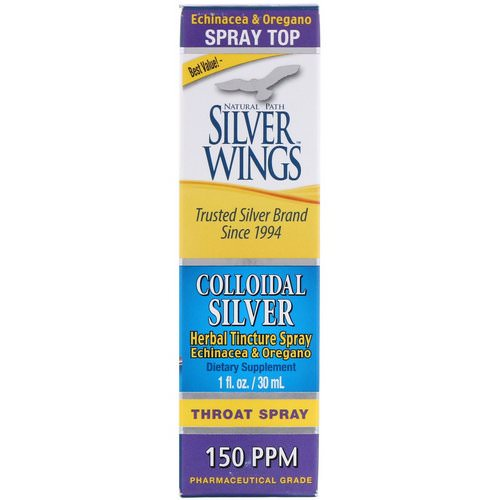 Natural Path Silver Wings, Colloidal Silver, Herbal Tincture Throat Spray, 150 PPM, 1 fl oz (30 ml) Review