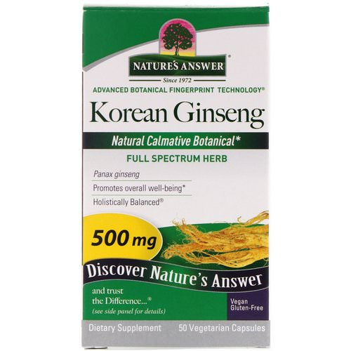 Nature's Answer, Korean Ginseng, 500 mg, 50 Vegetarian Capsules Review